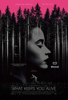 The film poster showing a black and white forest with a woman's face superimposed over it and another woman running through the forest, all under a pink sky.