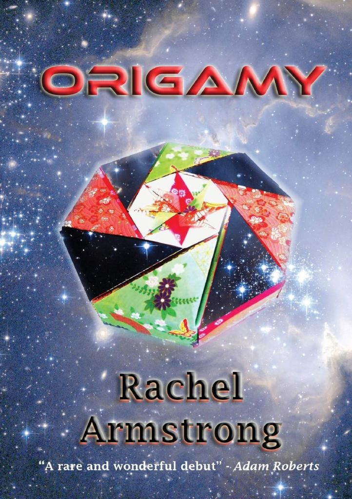 The book cover showing a piece of Origamy made from several different kinds of paper in front of stars in space.