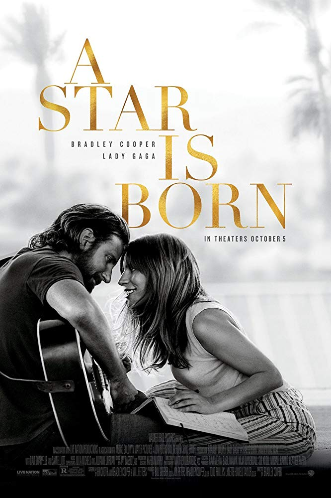 The film poster showing a black and white image of Jack (Bradley Cooper) playying the guitar and Ally (Lady Gaga) sitting in front of him, leaning in for a kiss.