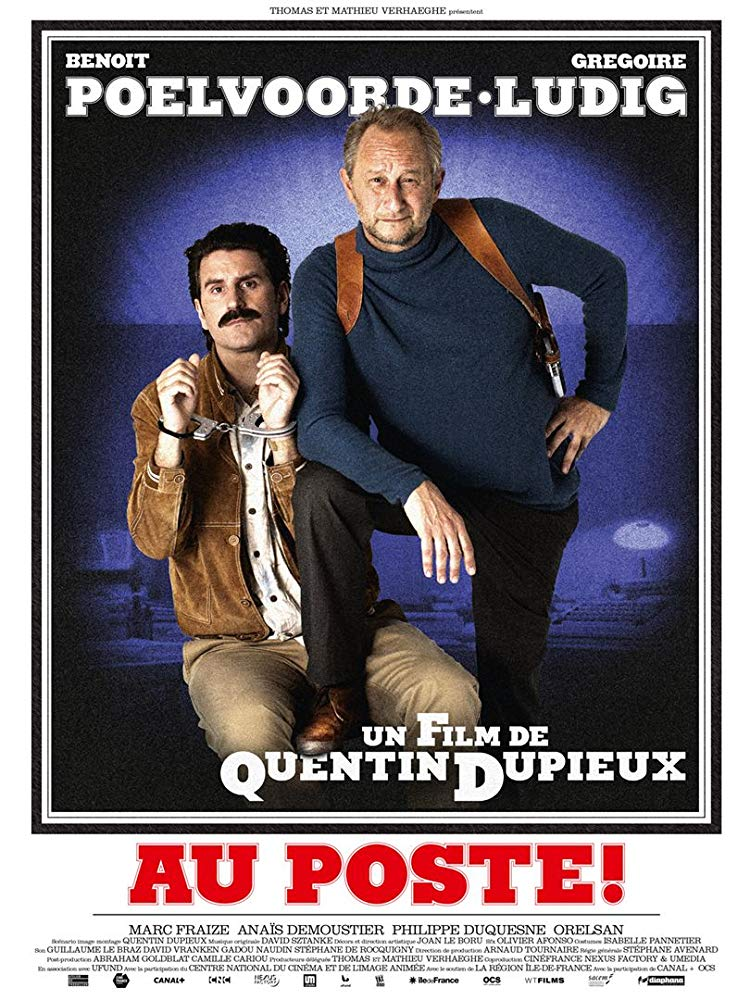 The film poster showing a police officer and a man in handcuffs.