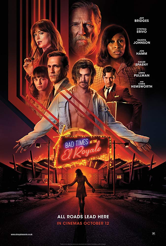 The film poster showing a montage of the main characters atop an image of the motel El Royale.