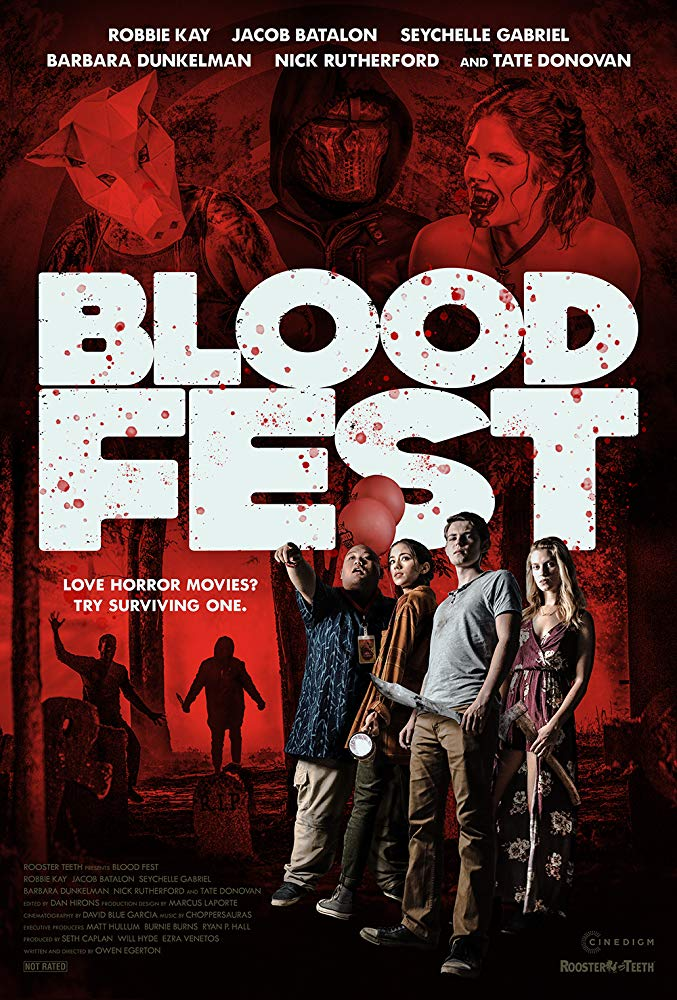 The film poster showing a group of teens in front of a mostly red background with scary figures.