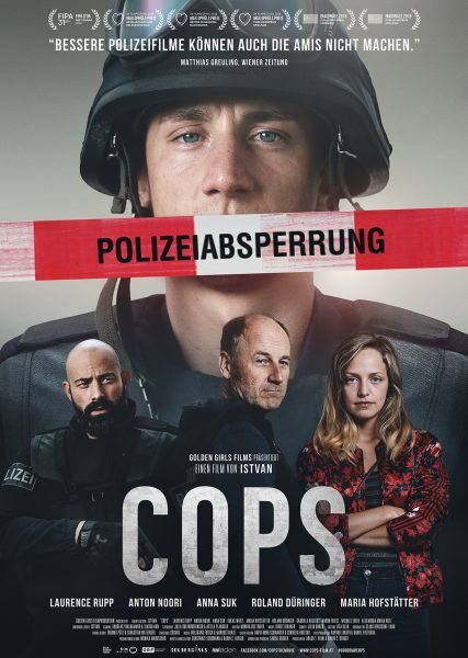 The film poster shwoing a police officer in riot gear with police tape running across his mouth.