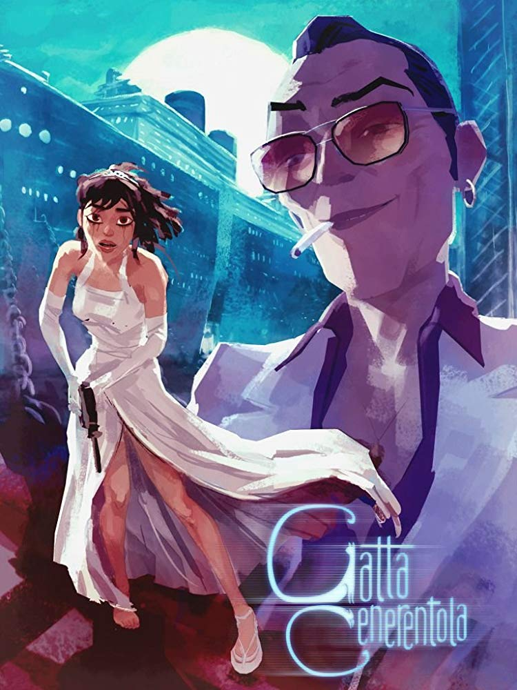 The film poster showing a young woman in a ball gown with a gun in her hands and the much bigger image of a man in sunglasses with a cigarette in his mouth.