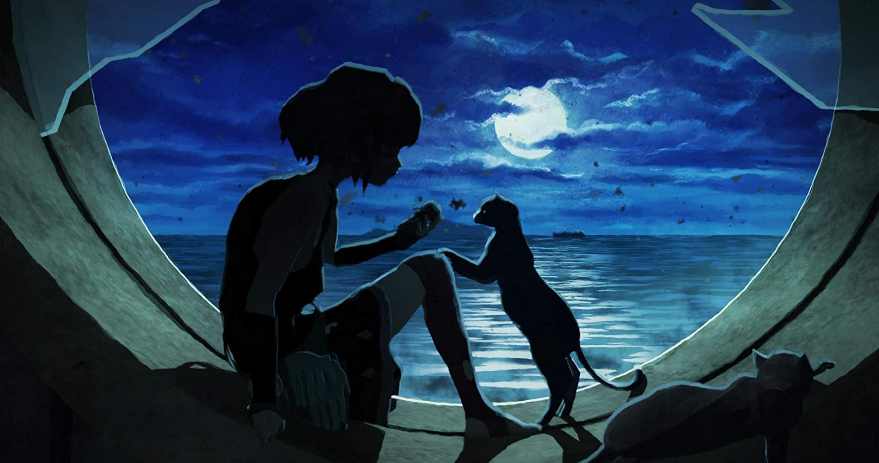 The silhouettes of a girl and a cat in front of a round window overlooking the sea at night.
