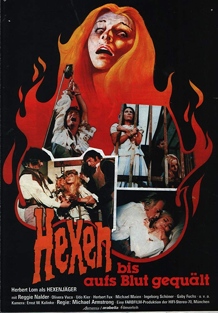 The film poster showing with a drawn women whose hair is made of fire, with stills from the film that mostly depict women in pain as a collage in front of the hair.