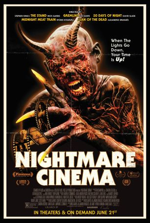 The film poster showing a demon with a film strip in its claws.
