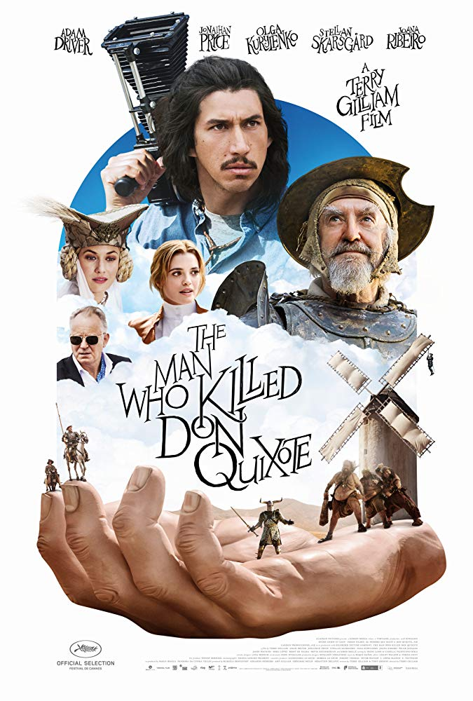 The film poster showing a giant hand on which a couple of figures are standing in front of a windmill. Above it is a collage of the main characters of the film.