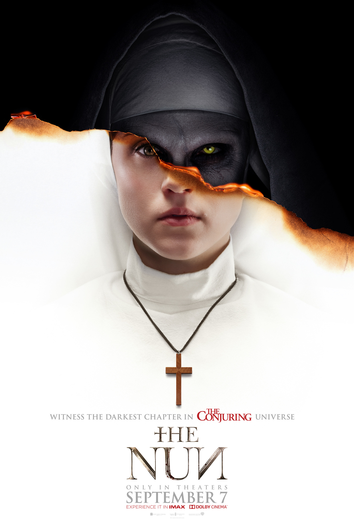The film poster showing a young nun in white, but the image is torn across her face, revealing the creepy face of a nun in black behind her.