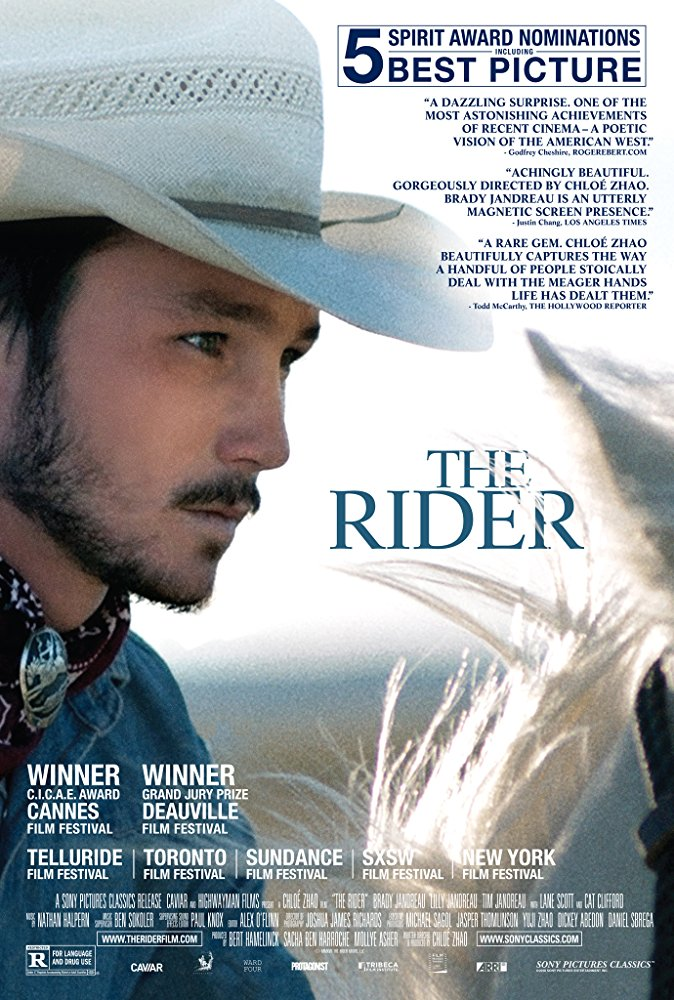 The film poster showing a young man in a cowboy hat in profile, the horse he is sitting on just visible in the frame.