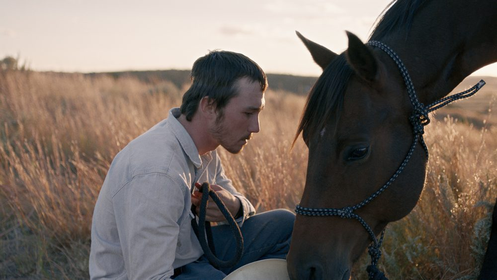 A young man (Brady Jandreau) is squatting in fronnt of a horse in the grass.