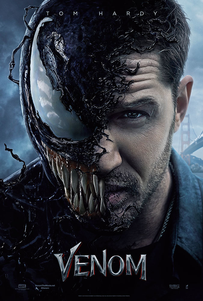 The film poster showing Tom Hardy's face, half of which is an Alien with a huge eye and a mouth with sharp teeth.