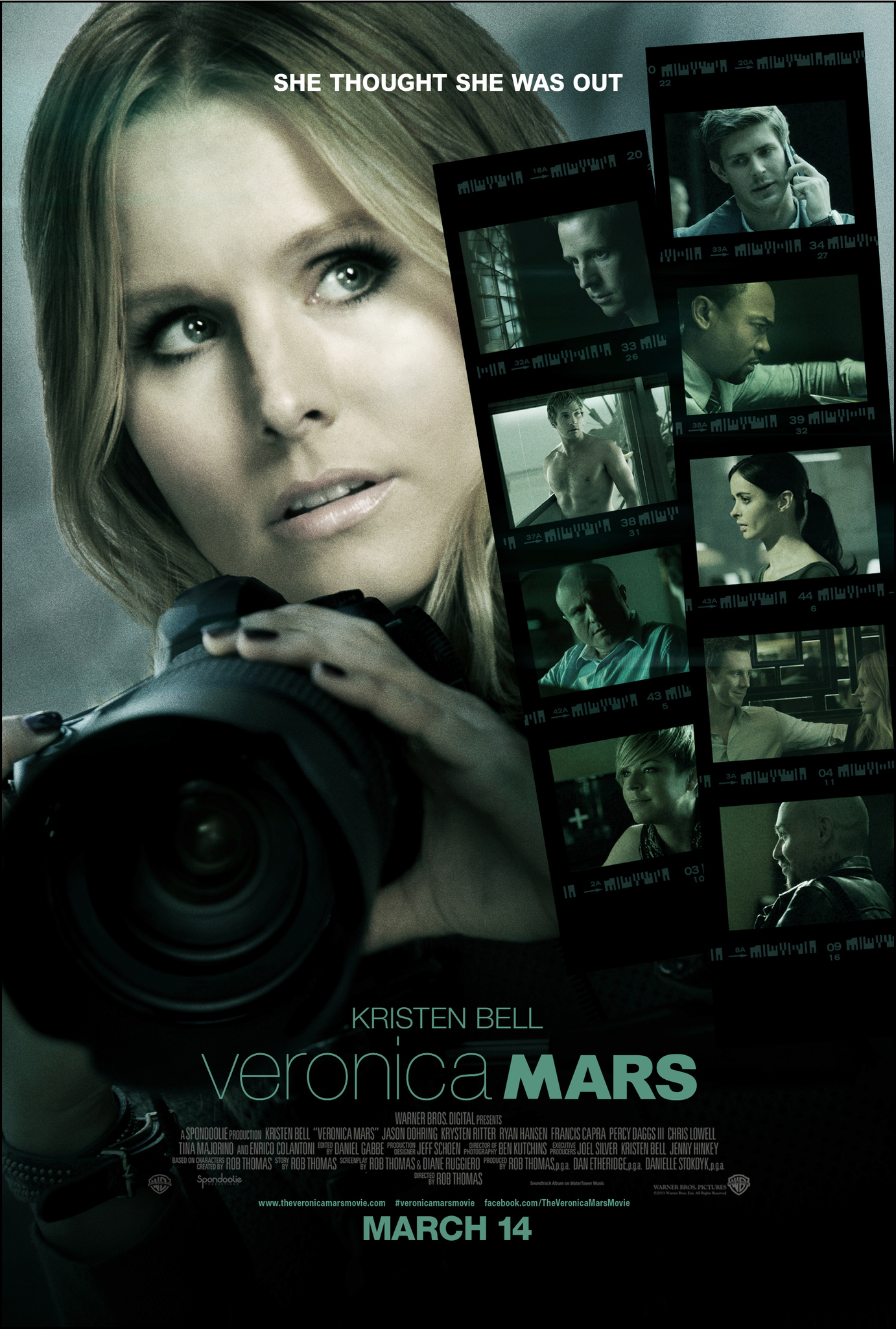 The film poster showing Veronica Mars (Kristen Bell) holding a huge camera.