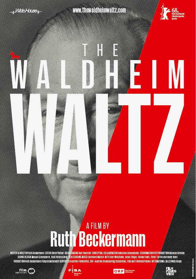 The film poster showing Waldheim's face with the title of the film over it in large white letters.