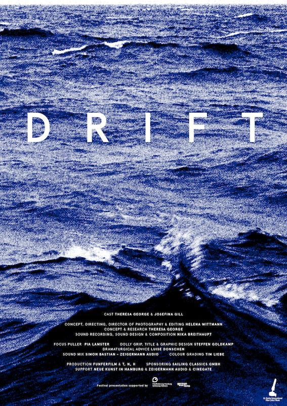 The film poster showing a grainy image of the ocean.