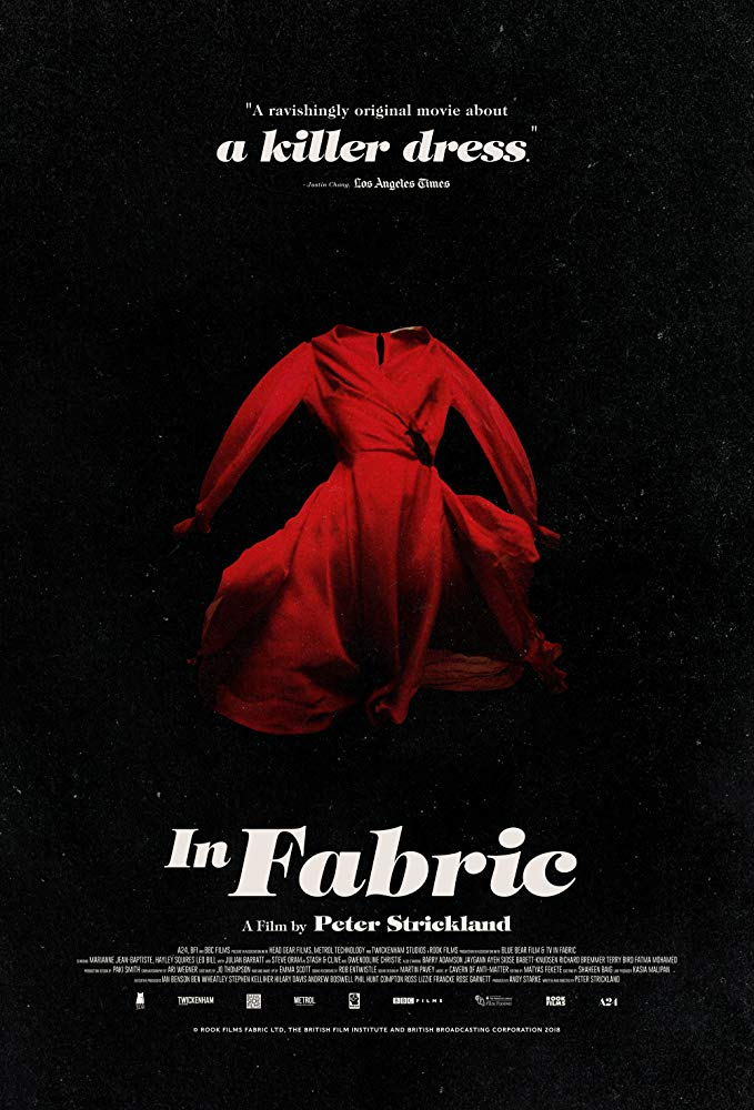 The film poster showing a floating red dress in front of a black background.