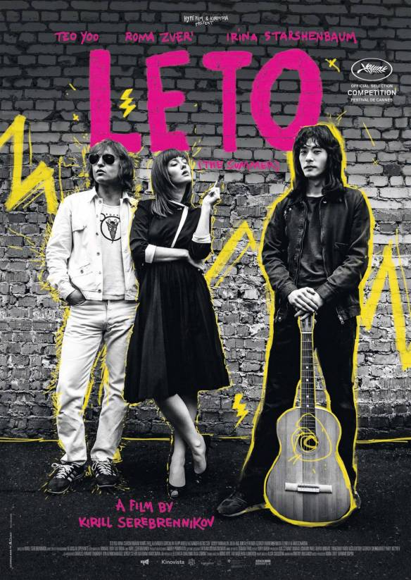 The film poster showing Mike Naumenko (Roman Bilyk), Natalya Naumenko (Irina Starshenbaum) and Viktor Tsoy (Teo Yoo) in black and white with yellow graphic elements.