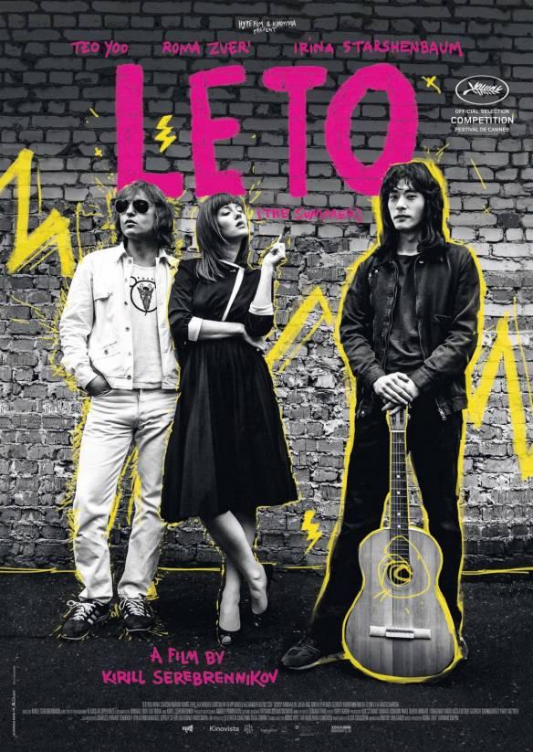 The film poster showing Mike Naumenko (Roman Bilyk), Natalya Naumenko (Irina Starshenbaum) and Viktor Tsoy (Teo Yoo) in black and white with yellow graphic elements.