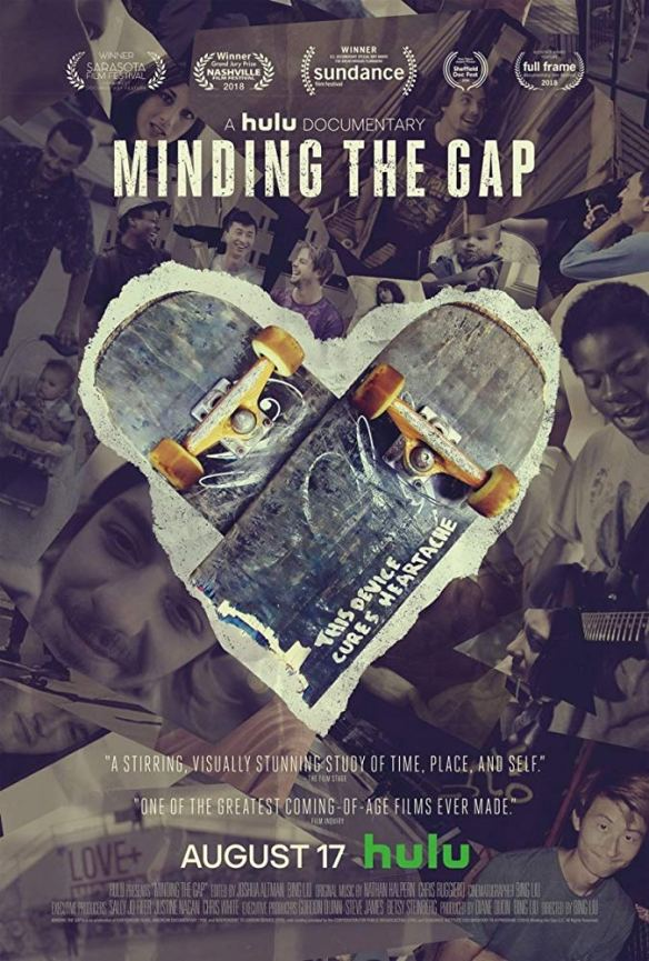 The film poster showing two skateboards lying over each other to form a heart with a photo collage in the background.
