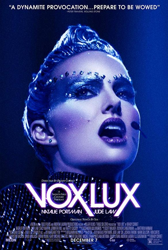The film poster showing Celeste (Natalie Portman) in full stage make-up singing.