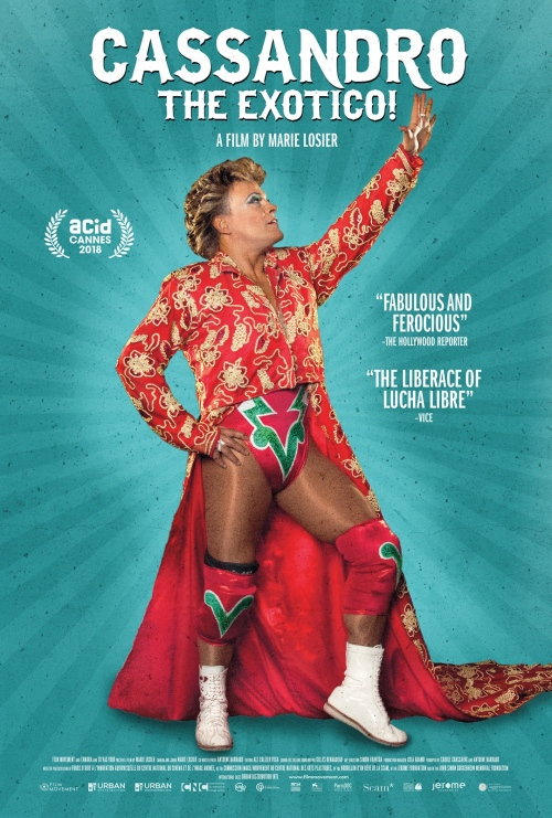 The film poster showing Cassandro in full Lucha Libre gear.