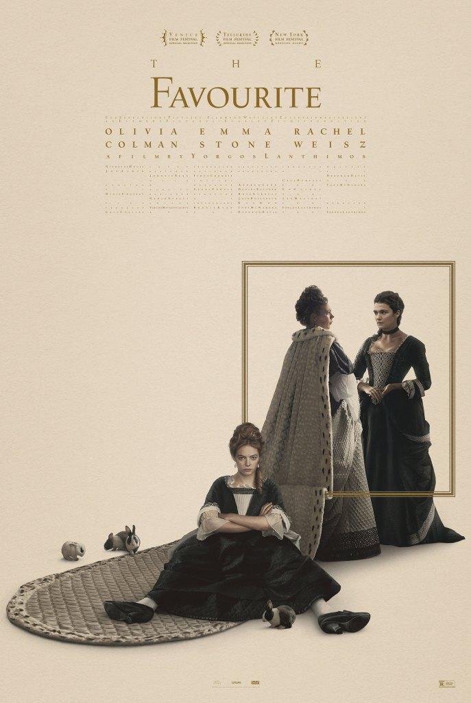 The film poster showing Olivia Colman and Rachel Weisz standing in the back and Emma Stone sitting in the front with a sullen expression.