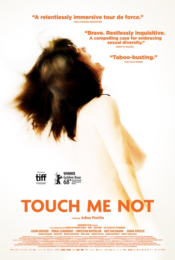 The film poster showing the upper body of a naked woman, throwing her head back mid-orgasm.