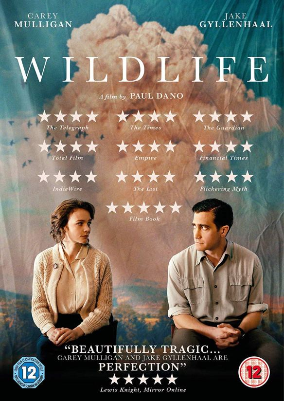 The film poster showing Carey Mulligan and Jack Gyllenhaal sitting apart in front of a canvas showing the sky, looking at each other.