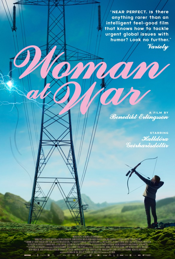 The film poster showing a woman shooting an arrow at an electric line.