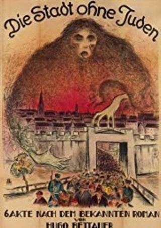The film poster showing a drawing of a shadowy figuring in red hovering over a city while a huge mass of people is leaving through the city gate.