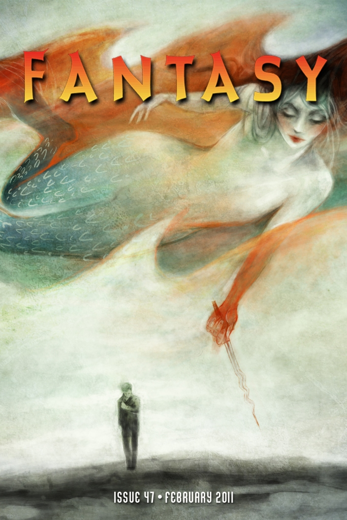 The magazine cover showing a mermaid with a magic wand hovering over the small figure of a person walking.