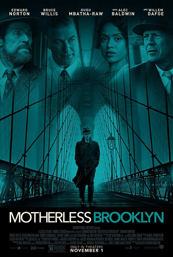 The film poster showing a man in a trenchcoat and hat on a bridge.