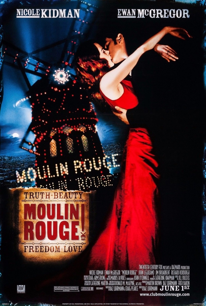 The film poster showing a woman and a man kissing in front of the Moulin Rouge windmill.