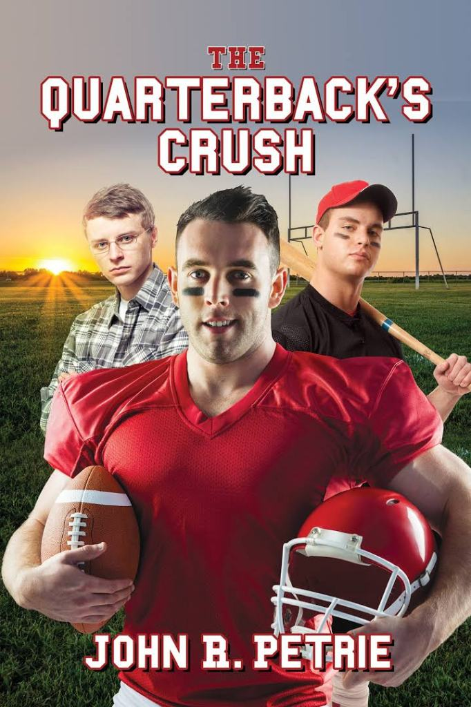 The book cover shoing three guys, one in a nerdy outfit, a baseball player and a football player.