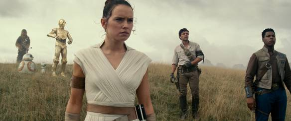 Daisy Ridley, Oscar Isaac and John Boyega in the film.