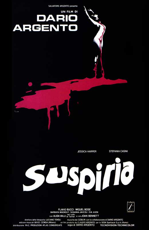 The film poster showing the stylized drawing of a ballet dancer in a big puddle of blood.