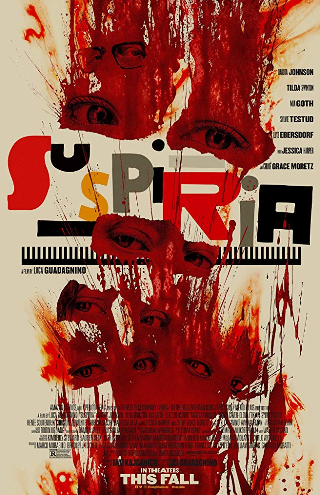 The film poster showing eyes in a splatter of blood.
