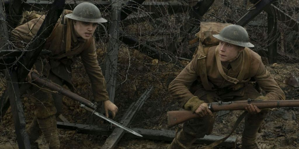 Lance Corporals Blake (Dean-Charles Chapman) and Schofield (George MacKay) making their way through no-man's-land.