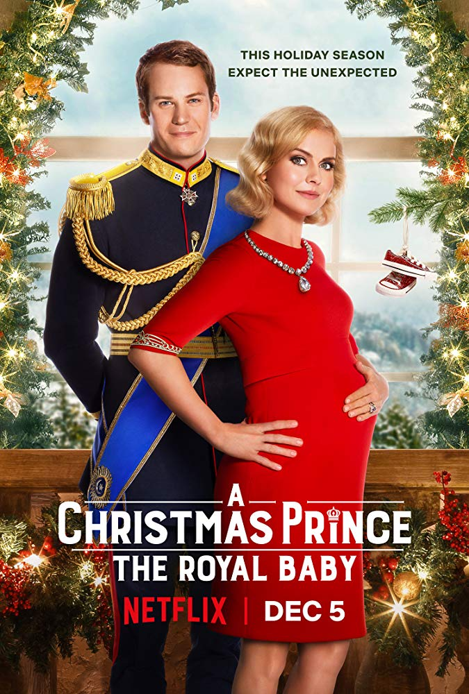 The film poster showing King Richard (Ben Lamb) and Queen Amber (Rose McIver) who cradles a notable baby bump.