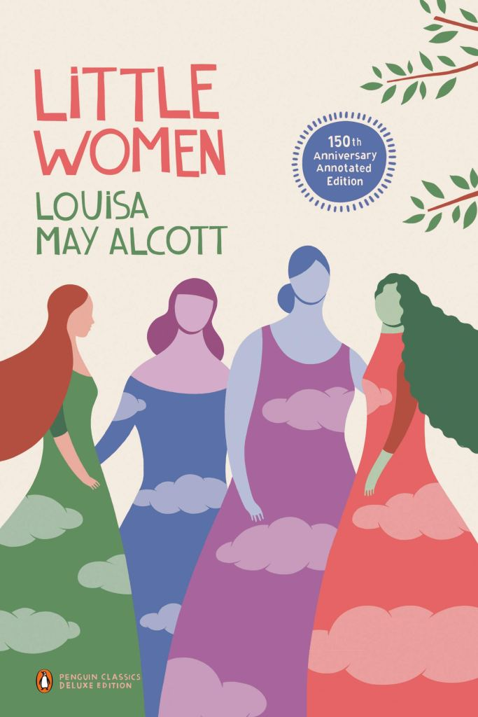 The book cover showing stylized female figures, all wearing differently colored dresses with clouds on them.