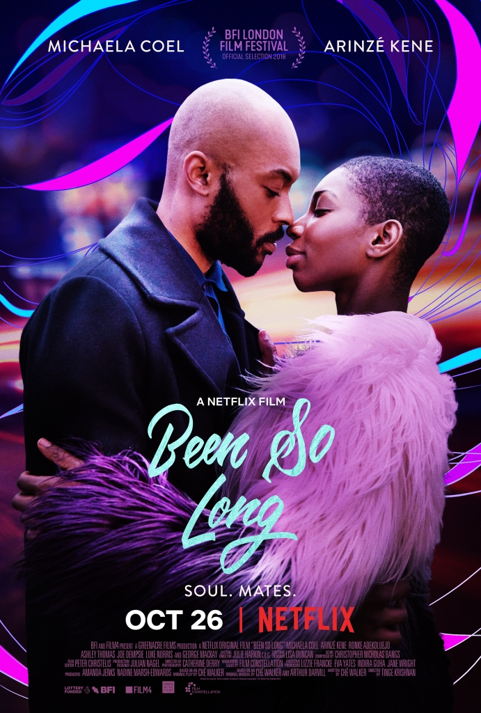 The film poster showing Simone (Michaela Coel) and Raymond (Arinzé Kene) leaning in for a kiss.