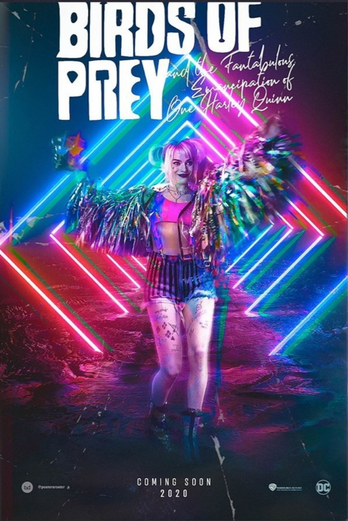 The film poster showing Harley Quinn (Margot Robbie) in party mode.