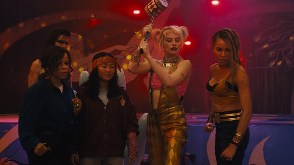 Renee Montoya (Rosie Perez), Helena Bertinelli (Mary Elizabeth Winstead), Cassandra Cain (Ella Jay Basco), Harley Quinn (Margot Robbie) and Dinah Lance (Jurnee Smollett-Bell) in fight mode.
