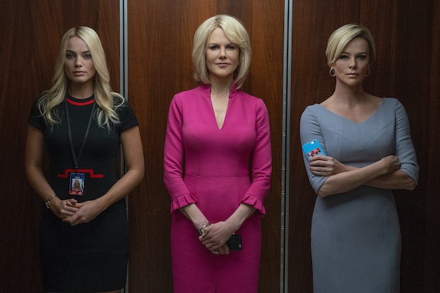 Kayla Pospisil (Margot Robbie), Gretchen Carlson (Nicole Kidman) and Megyn Kelly (Charlize Theron) in an elevator.