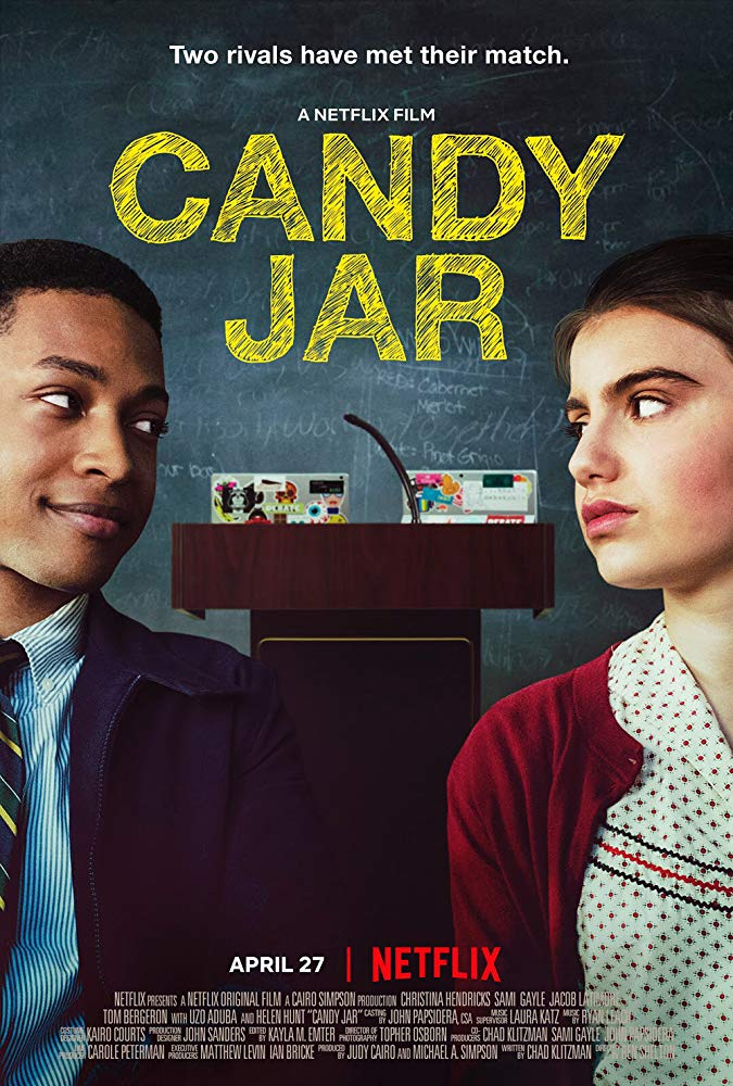 The film poster showing Bennett (Jacob Latimore) and Lona (Sami Gayle) looking at each other in front of a blackboard and a lectern.