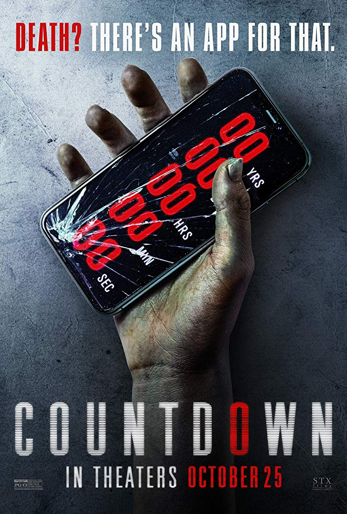 The film poster showing a dead hand holding a cellphone that shows a counter at zero.