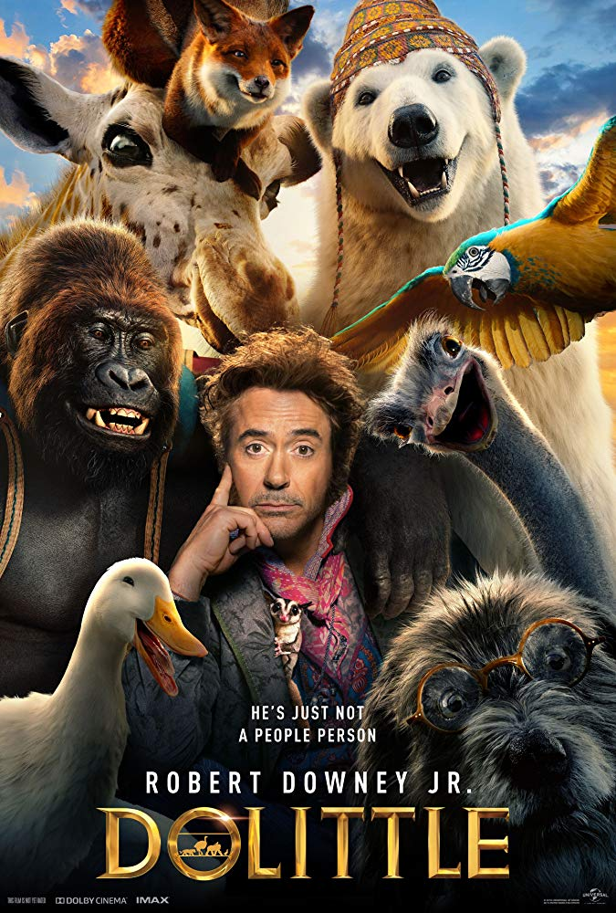 The film poster showing Doctor Dolittle (Robert Downey Jr.) surrounded by various animals.