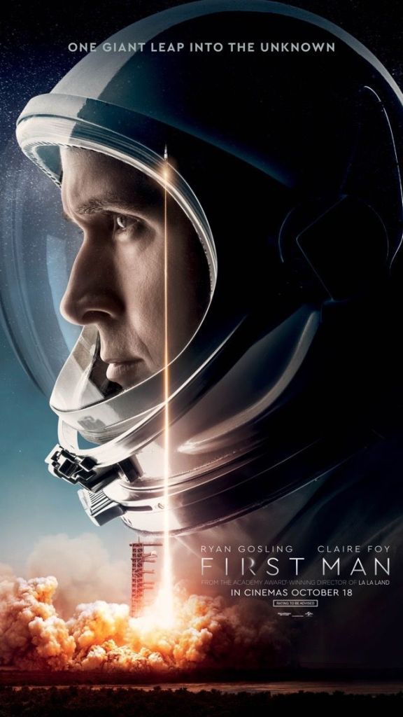 The film poster, showing an astronaut (Ryan Gosling) in profile.