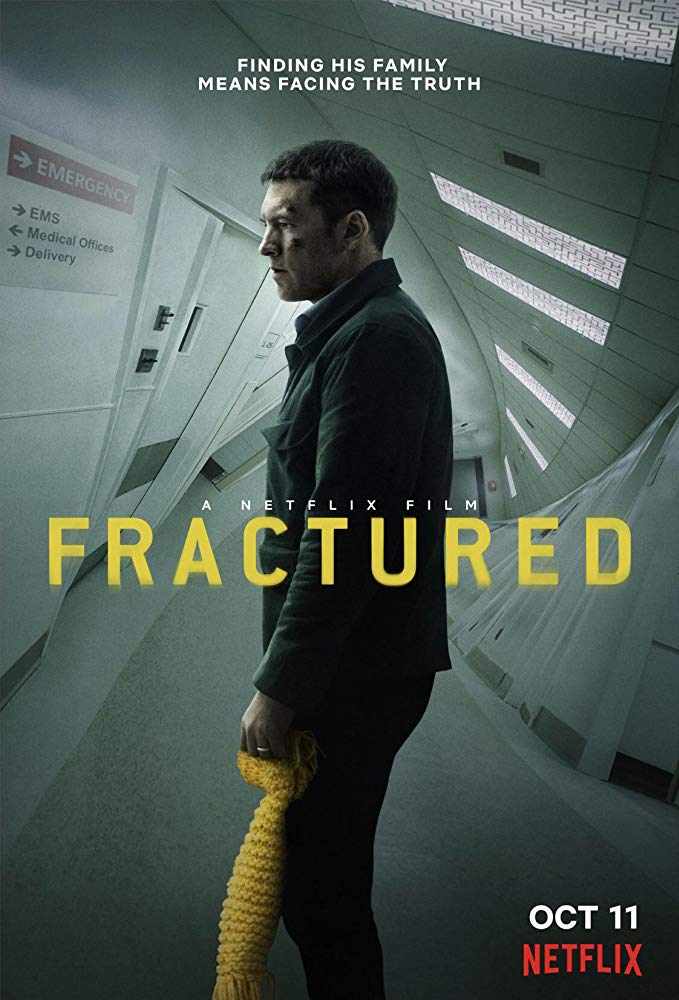 The film poster showing Ray (Sam Worthington) in a twisted hospital corridor, clutching a child's scarf.