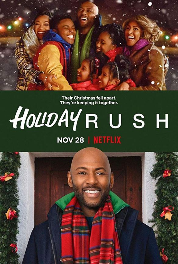 The film poster showing the entire family standing in a group hug and another image of Rush (Romany Malco) smiling.